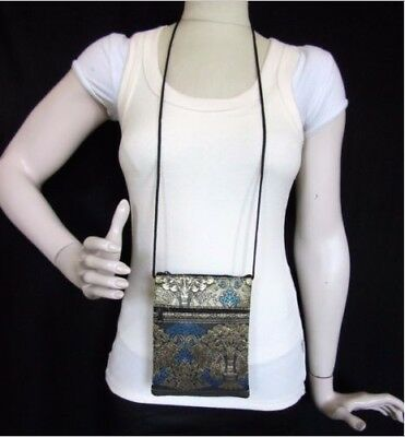 Cell Phone Cross Body Bag Passport Holder Wallet Coin Silk Thai Elephant Purse