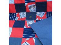 HOMEMADE PATCHWORK THROW - THATS MARTINI £20 RED BLUE - Ideal Christmas Present for a Bed or Sofa