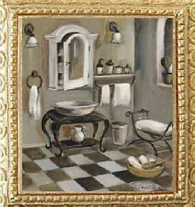 FRENCH-BATH-Dollhouse-Picture-Framed-Miniature-Art-MADE-IN-AMERICA