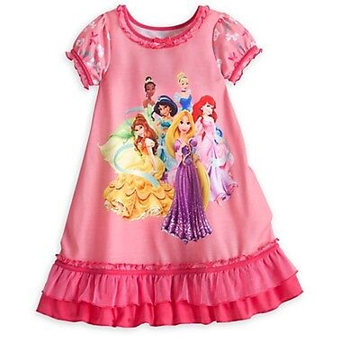 Disney Store Princess Deluxe Ruffled NightGown Pink PJ's Girls Size 2 5/6 7/8