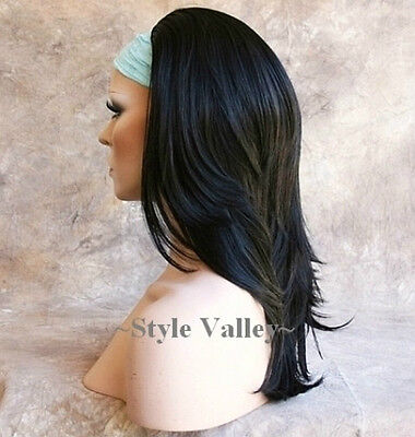Straight Black 3/4 Fall Layered Hair Piece Long Wavy ends Half Wig Hairpiece