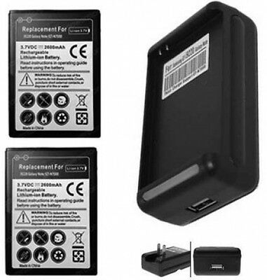 Two Batteries + Charger For Samsung Galaxy Note I9220 Gt-...
