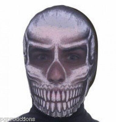 SKULL FACE SEE THRU HOODED MASK Halloween Black Nylon Hood Monster Bank Robber](Bank Robber Halloween)