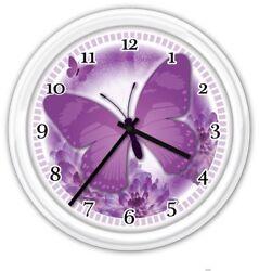 Purple Butterfly Wall Clock - Kitchen Bathroom Bedroom Restroom Laundry GIFT