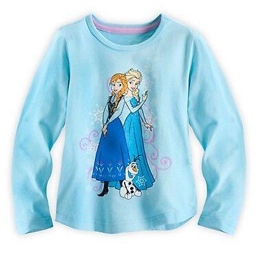 Disney Store Frozen Princess Anna & Olaf Blue Longsleeve Shirt Girls Large 9/10