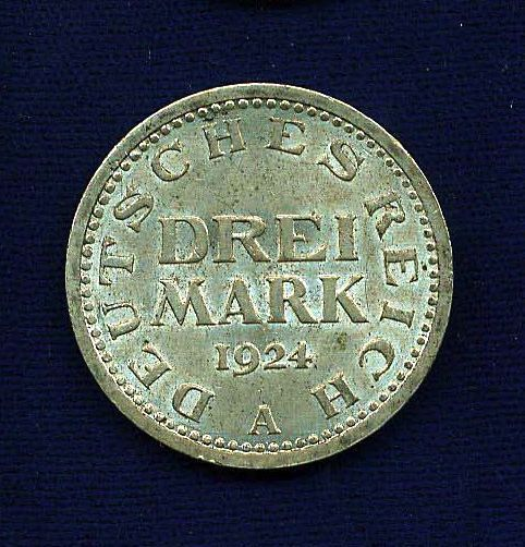 GERMANY WEIMAR REPUBLIC 1924-A  3 MARK SILVER COIN, UNCIRCULATED