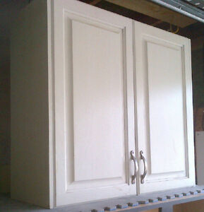 Antique white professionally sprayed oak cabinet with doors