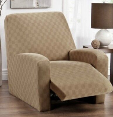 Blue-recliner Cover-stretch-checkerboard-pick From 5 Colors-avail. In All Sizes