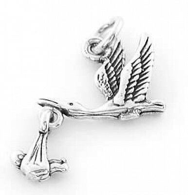 STERLING SILVER STORK WITH BABY MOVES CHARM OR PENDANT ](Stork With Baby)
