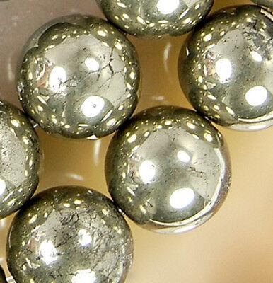 Golden Khaki (12mm Natural Golden khaki Pyrite Round Beads 16