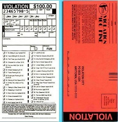 Funny Rude 10 Pack Phoney Fake Police Parking Tickets Joke Gag Prank   1 Bill