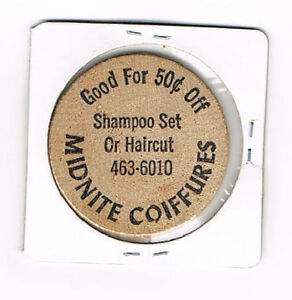 Vintage-Wooden-Nickel-Midnite-Coiffures-Good-For-50-Cents-Off-Shampoo-Haircut