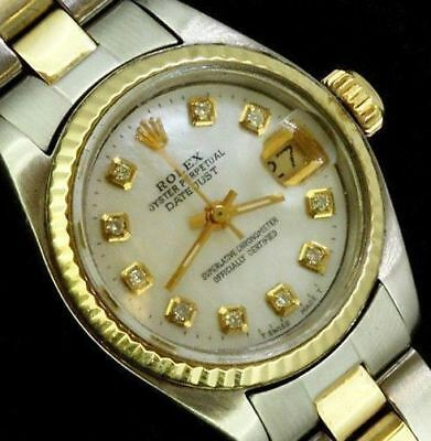 Rolex Ladies Datejust Oyster Stainless Gold Diamond Dial  Watch