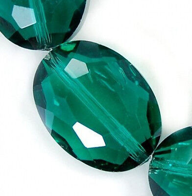 12x16mm Faceted Emerald Czech Glass Crystal  Flat Oval Beads 12pcs