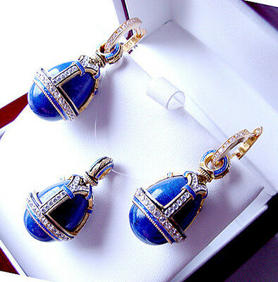 SALE !  EGG PENDANT and EARRINGS SET STERLING SILVER 925 GENUINE LAPIS