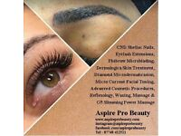 Lash/Eyelash Extensions,Microblading,Acne Clearing/Blackhead Relief Facials,Microdermabrasion,Waxing