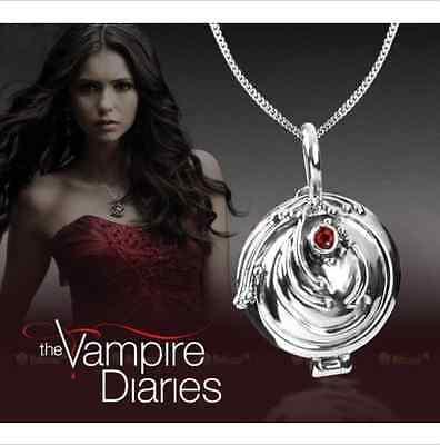 The Vampire Diaries Elenas Vervain Locket Pendant Crystal Gem Antique Necklace