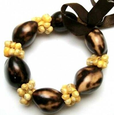 Hawaii Wedding / Graduation Kukui Nut Luau Hula Jewelry Bracelet ~#24055 (QTY 2)