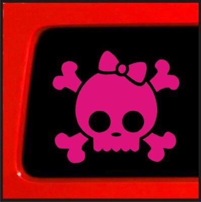 Pink Skull Bones Bow Tie Skull  funny car vinyl sticker decal -