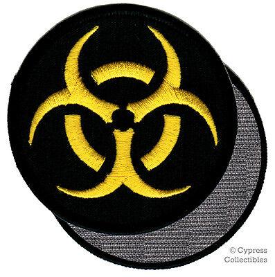 BIOHAZARD SYMBOL embroidered iron-on PATCH BLACK WARNING LOGO ZOMBIE APOCALYPSE