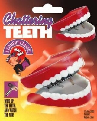 Deluxe TALKING CHATTERING TEETH Dentures Choppers Wind Up Joke Toy Large Mouth