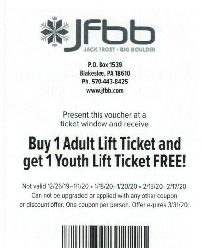 JFBB Buy 1 Adult Lift Ticket and get 1 Youth Lift Ticket Free