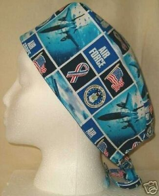 Surgical Scrub Hat Skull Cap US Air Force Military Fabric Nurse Fabric Chemo ER
