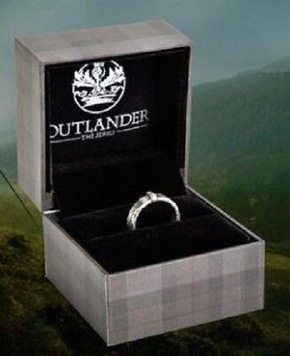 OUTLANDER TV SERIES OFFICIAL CLAIRE FRAZER SILVER WEDDING RING w TARTAN GIFT BOX