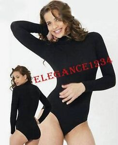 BODYSUIT-STRETCH-VISCOSE-TURTLENECK-L-SLEEVE-ALL-COLOUR-SIZES