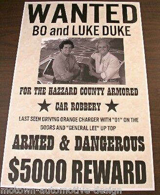 DUKES OF HAZZARD WANTED POSTER GENERAL LEE BO & LUKE