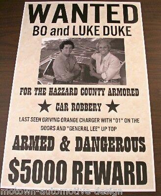 DUKES OF HAZZARD WANTED POSTER GENERAL LEE BO & LUKE