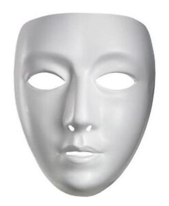 BLANK WHITE ADULT MEN WOMEN FEMALE MALE MASK DRAMA COSTUME FACE MASK MASKS