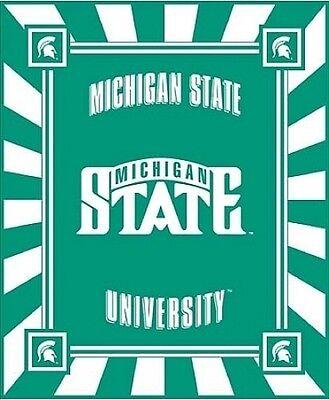University Fleece Fabric Panel - Michigan State University College Team Spartans Panel Fleece Fabric pmist008s