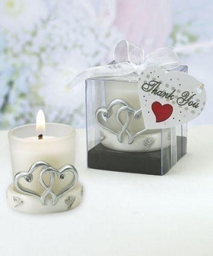 FashionCraft 12 White & Silver Interlocking Hearts Candle...