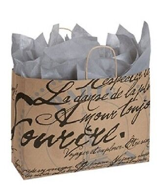 Paper Shopping Bags 25 Large Paris Script Retail Eiffel Tower 16 X 6 X 12