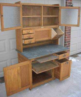 Early Oak Hoosier Style BOONE Cabinet with pull out Potato Bin & tilt Sugar Bin