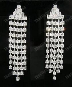 U-CLIP-ON-rhinestone-DIAMANTE-chandelier-CRYSTAL-drop-EARRINGS-silver-plated
