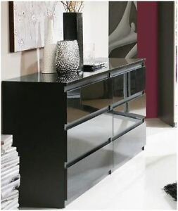 Lucia High Black Gloss Wide Chest Of Drawers Dresser 6 Drawer Bedroom Furniture Ebay