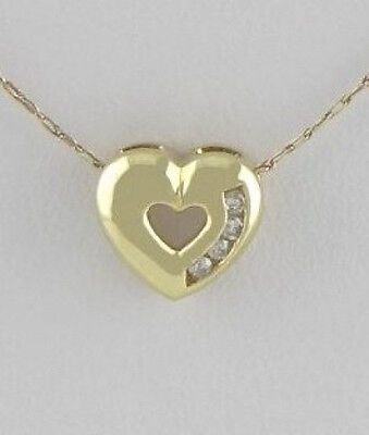 - LADIES 10K YELLOW GOLD DIAMOND HEART SLIDE FINE JEWELRY PENDANT CHARM .35