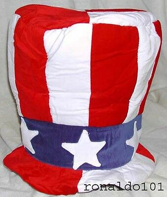 UNCLE SAM TALL TOP HAT CELEBRATE AMERICA NEW USA PARTY CAP *FREE SHIPPING*