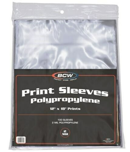 Pack of 100 BCW 12 x 18 Print / Poster Archival Poly Sleeves protectors holders