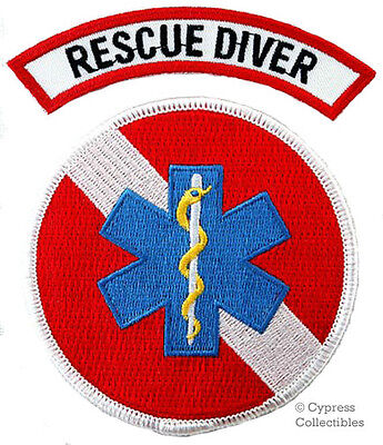 LOT of 2 RESCUE DIVER PATCH - SCUBA EMT/EMS/Paramedic EMBROIDERED IRON-ON DIVE