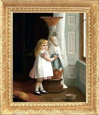 LITTLE GIRL CLEANING Dollhouse Picture - FRAMED Miniature Art - MADE IN AMERICA