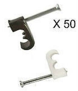 TWIN-SATELLITE-CABLE-CLIPS-SKY-CT-WF63-SHOTGUN-DOUBLE-BLACK-WHITE-FREESAT-X-50