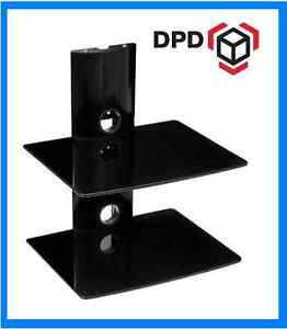 Floating Black Glass two Shelf AV wall unit for Sky DVD Console SALE £23.95