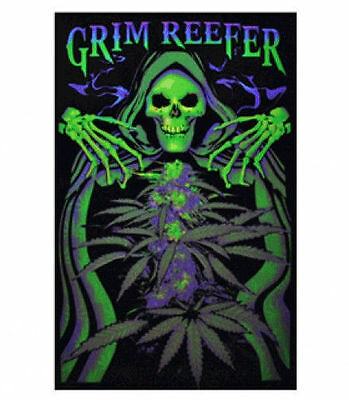 GRIM REEFER - WEED BLACKLIGHT POSTER - 24X36 POT MARIJUANA REAPER SKULL 1900