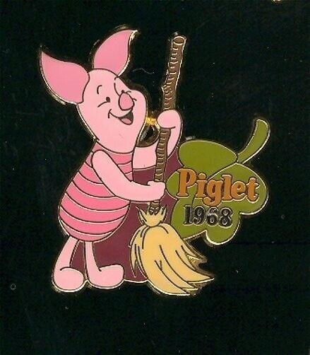 LE HTF OLD Disney Pin 100 Years of Dreams #54 Piglet 1968 Broom