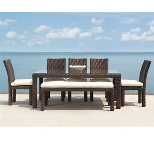 brown table bench chairs