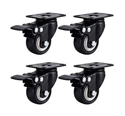 Set Of 4 Swivel Plate Casters 1.5 Polyurethane Wheels Total Lock Brake Black