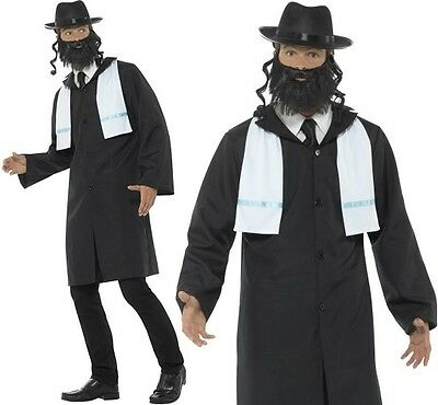 Mens Rabbi Fancy Dress Costume Black Men's Jewish Scholar Outfit by Smiffys New](Jewish Costume)
